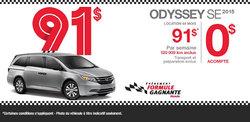 Le Honda Odyssey SE 2015 en location à partir de 91$ par semaine
