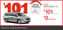 Lease the 2016 Honda Odyssey SE from $101/week!