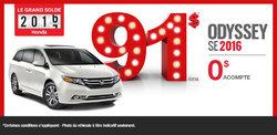 Le Honda Odyssey SE 2016 en location à partir de 91$ par semaine