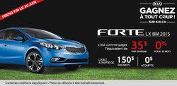 La nouvelle Kia Forte 2015 à 35$ par semaine