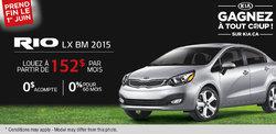 Louez la nouvelle Kia Rio LX 2015 à vous à partir de 152$ par mois