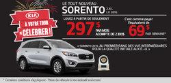 Louez le tout nouveau Sorento 2016 à 297$ par mois