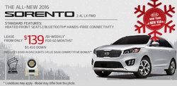 2016 Kia Sorento - Lease it for as Low as $139/Bi-Weekly