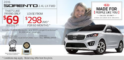 2016 Kia Sorento - Lease it for as Low as $298 Monthly